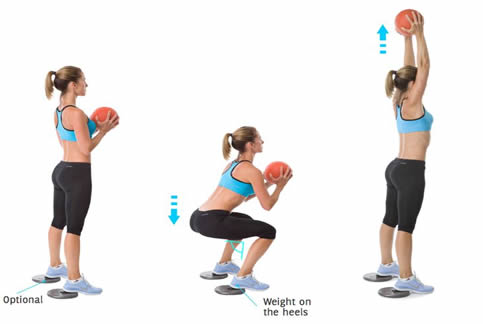 Squats met medicine ball