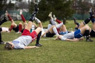 April 02 2009 Lauren Brown, 17, center, a junior on Portage Central's soccer team performs an ACL injury prevention warmup routine with teammates during a Thursday practice.    (Jonathon Gruenke / Gazette)